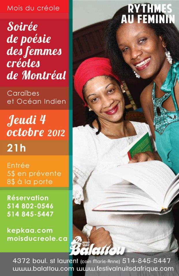 Soirée de poésie des femmes créoles de Montréal